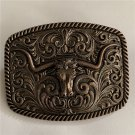 Floral Bull Head Western Cowboy Belt Buckle For Men