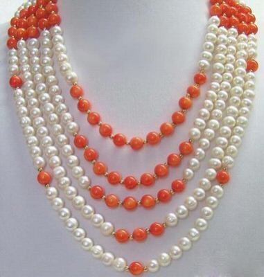 pretty Pearl Necklace 5 Strands
