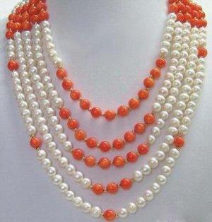 pretty Pearl Necklace 5 Strands