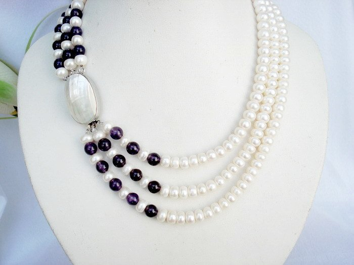 freshwater pearl & amethyst necklace