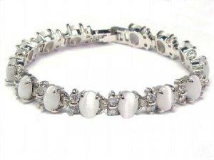 Noble jewelry silver gem opal beads chain link bracelet