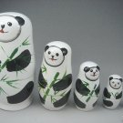 lovely HANDMADE SET 5PCS PANDA RUSSIAN STACKING DOLL