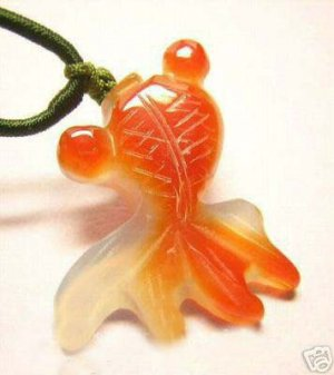 Carved Agate Jade Fish Amulet Pendant