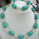 Beautiful turquoise pearl & crystal bracelet necklace