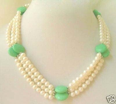 Noblest natural  white pearl with turquoise necklace