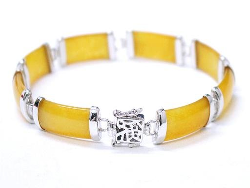 Charing honey yellow jade silver bracelet
