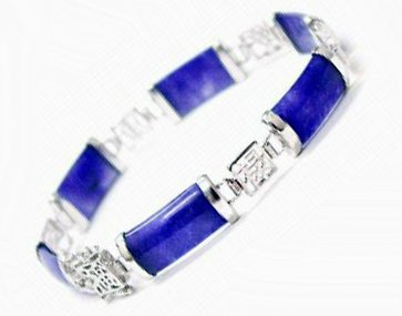 EXQUISITE 925SILVER BLUE JADE BRACELET