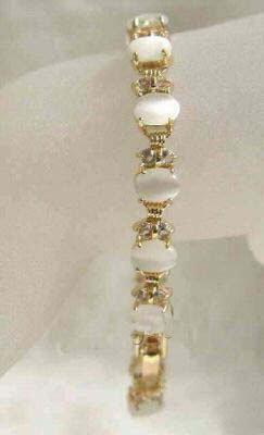 Rare white opal jade link bracelet jewelry