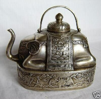 Rare old silver vintage collectable elephant teapot