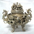 Rare exquisite Tibet silver dragon censer