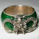 vintage tibet silver dragon green jade ring