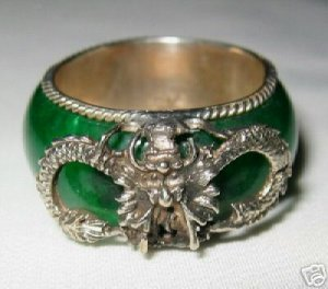 vintage tibet silver dragon green jade ring