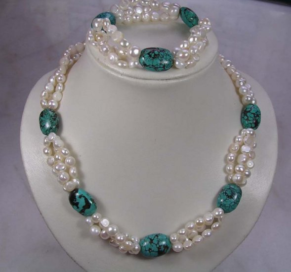 Natural Freshwater Pearl & Turquoise Necklace,Bracelet