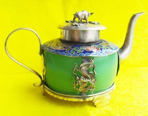 Tibetan silver*Green Jade Artistic Teapot