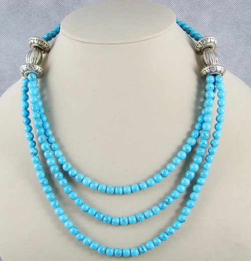 Graceful Tibetan Silver Turquoise Necklace