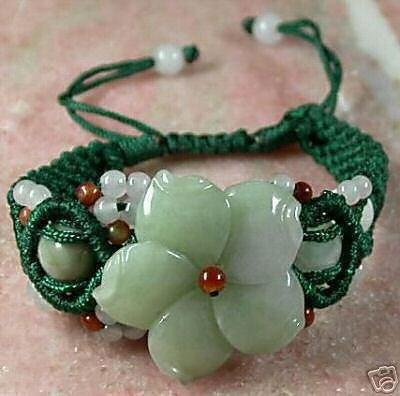 Unique green jade carved flower bangle bracelet