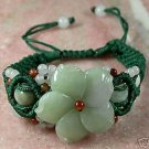 Unique green jade carved flower bangle bracelet