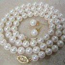 Rare Genuine white water pearl necklace and earring
