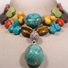 STUNNING TURQUOISE & TIBET SILVER NECKLACE