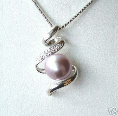 A unique purple pearl inlay pendant necklace