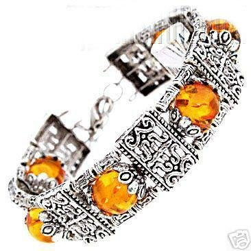 Rare tibet silver inlay yellow beads bracelet