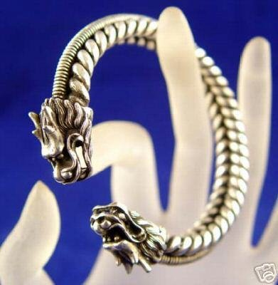 Rare tibet silver carved dragon bracelet