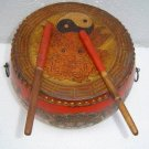 Stunning Tibetan Painting Dragon Leather Round Drum