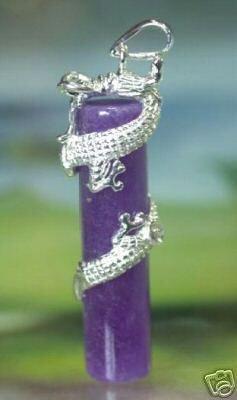 Stunning 925 silver jade inlay dragon pendant