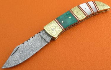 100% Handmade Damascus Steel Mother Of Pearl Dyed Bone Handle Slip Joint Lock Folding Knife FS8PB-7