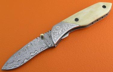 100% Handmade Damascus Steel Camel Bone Handle Liner Lock Folding Knife FS13B-6