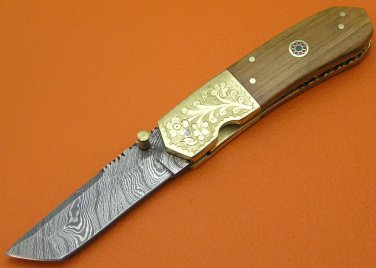 100% Handmade Damascus Steel Olive Wood Handle Liner Lock Tanto Folding Knife FS76D-2