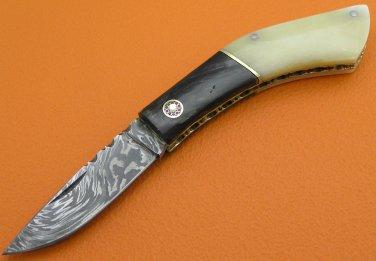 100% Handmade Damascus Steel Camel Bone Buffalo Horn Handle Slip Joint Folding Knife FS465BA-2