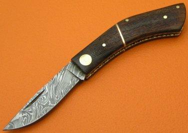 100% Handmade Damascus Steel Burl Wood Handle Slip Joint Folding Knife FS465E-2