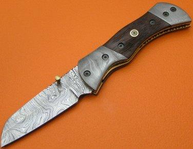 100% Handmade Large Damascus Steel Burl Wood Handle Liner Lock Folding Knife FS467E-2