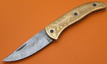 100% Handmade Large Damascus Steel Hand Engraved Cooper Handle Liner Lock Folding Knife FS472CH-2