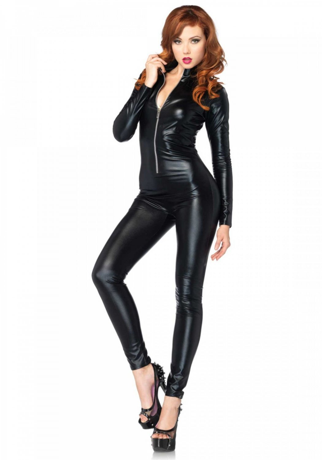 Leg Avenue Wetlook Catsuit Size S