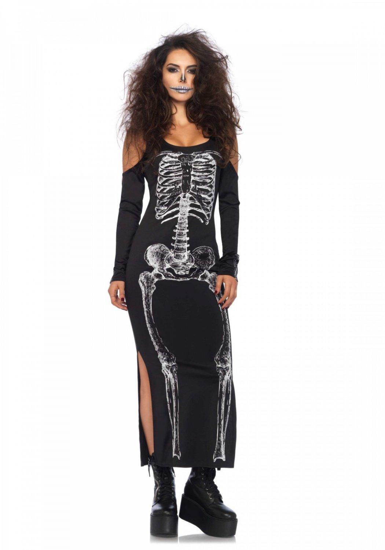 Side Slit Skeleton Dress ML