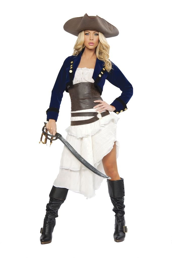 Sku 4245 Deluxe 6 PC Colonial Pirate Costume Size Large