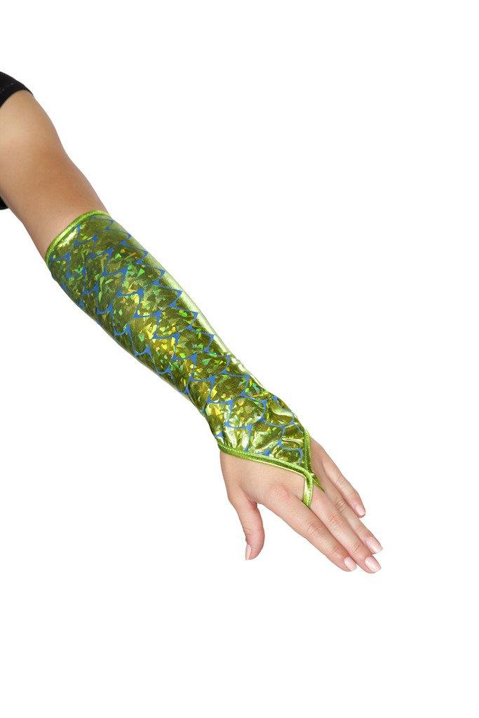 Sku GL105 Green Fingerless Elbow Length Mermaid Gloves