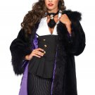 Sku 85480 Satin Lined Faux Fur Coat With Tail Shawl Collar Size Small/Medium