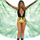 Sku A2786 Peacock feather halter wing Cape Size Onesize