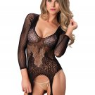 Sku 89173  Long sleeved ring net and floral lace suspender bodystocking