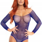 Sku 89231 Crystalized long sleeved fishnet thong back bodysuit with snap crotch
