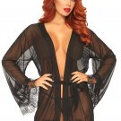 Sku 86107  3 PC Sheer short robe with eyelash lace trim