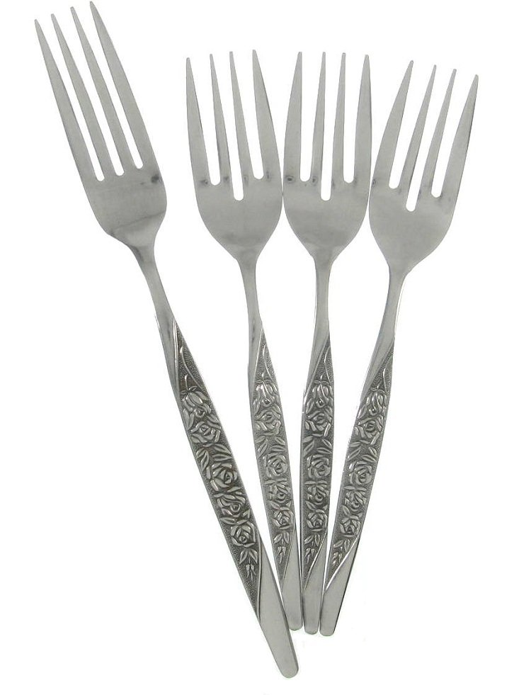 Vintage Japanese Stainless Steel Flatware Dinner Salad Fork Nasco Caress Malaysia Flower