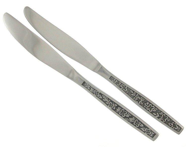 Vintage Stainless Steel Dinner Knives La Spana Stanley Roberts Retro Mod Flower Black Accent Set 2