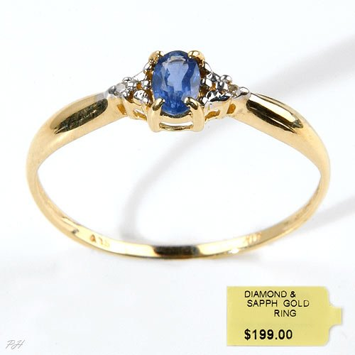 Genuine Sapphire and Diamond solid gold ring