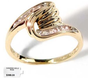 Genuine diamond twist design solid gold ring