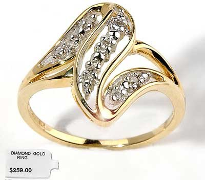 Genuine diamond helix solid gold ring