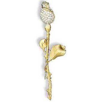 Gold tone flower pin with Swarovski crystals